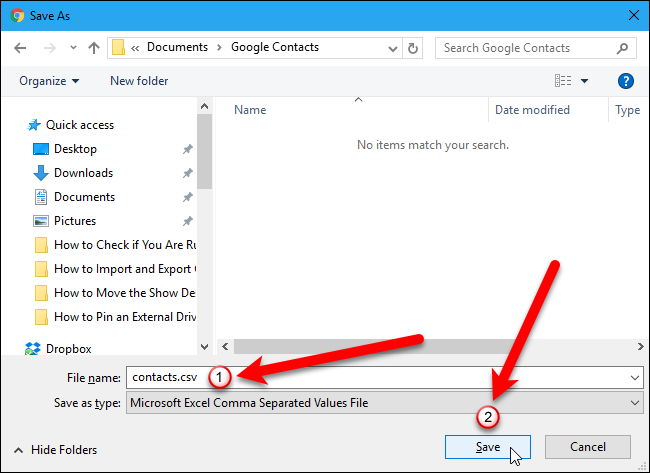 Import and Export Contacts