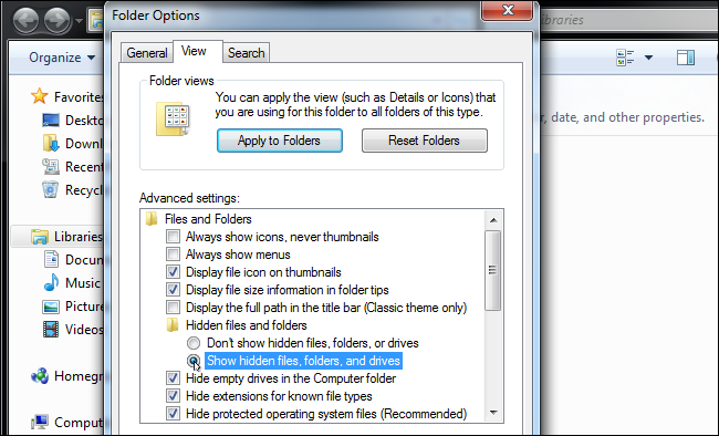 Find hidden folders