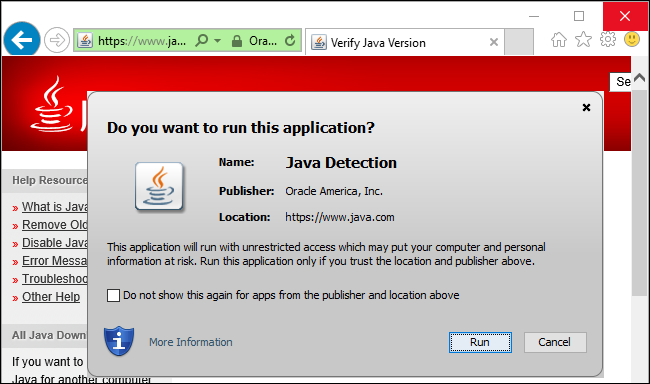 application blocked by java security windows 10