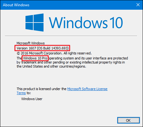 How to find out which build and version of windows 10 you have for Window number