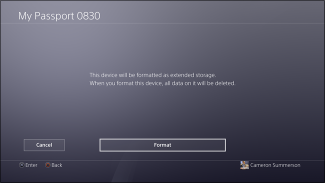 how to format an external drive for playstation 4 pro