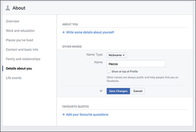 how to change profile name in facebook