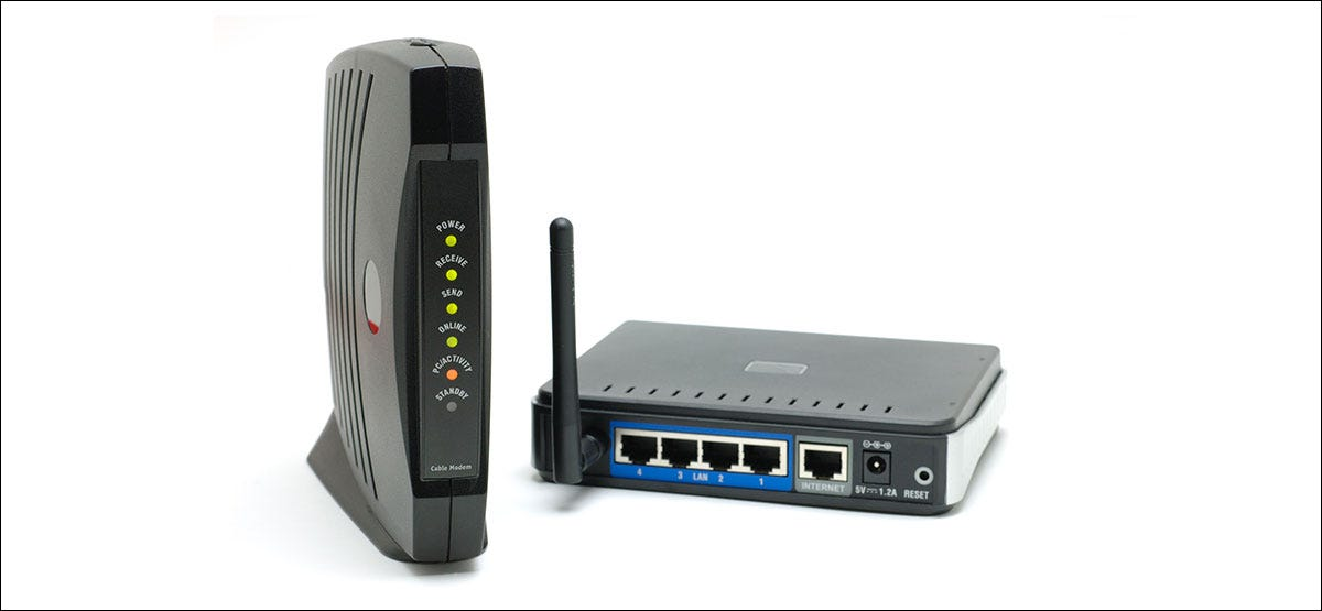 Cable modem sitting next to a wireless router