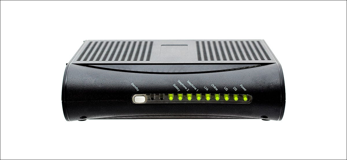 Cable modem laying on its side
