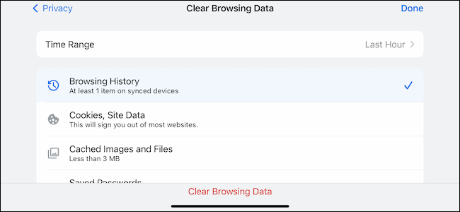 Clear browsing data settings menu in Google Chrome for iPhone