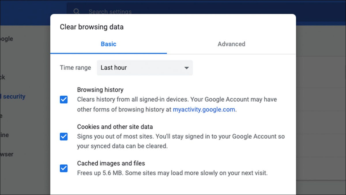 Clear browsing data settings menu in Google Chrome