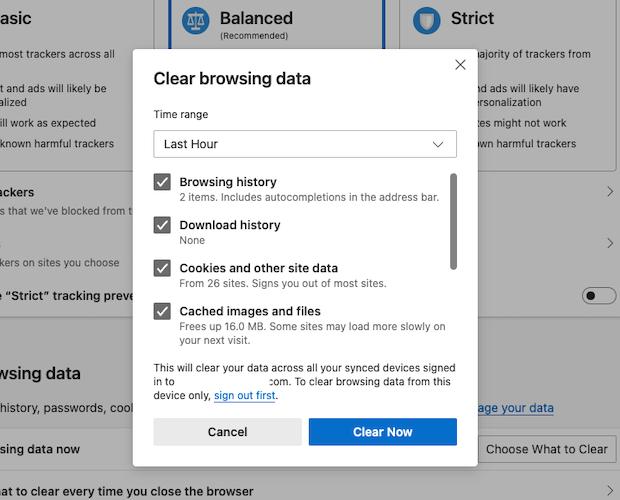 Clear Browsing Data menu in Microsoft Edge