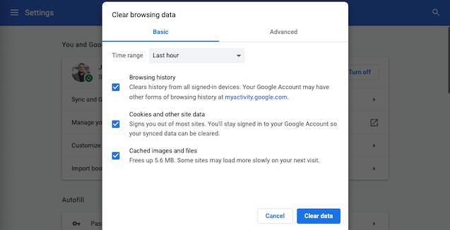 Clear browsing data settings menu in Google Chrome for desktop