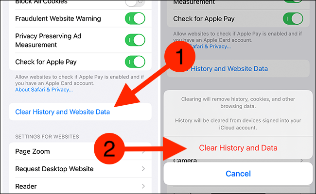 """Tap """"Clear History and Website Data"""" from Safari's settings and then select the """"Clear History and Data"""" button"""