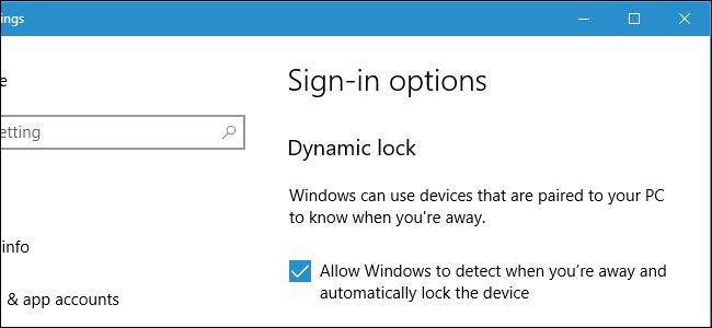 Windows 10's Dynamic Lock Sign-in screen.