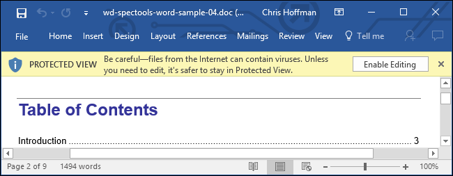 but if you choose to enable editing the dangerous office document can use an exploit in microsoft office to attack your system
