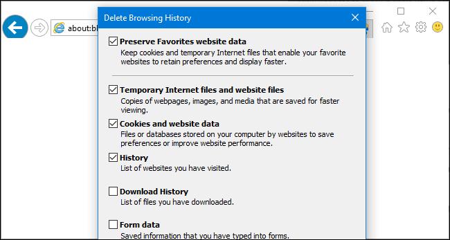 Delete Browsing History menu in Internet Explorer