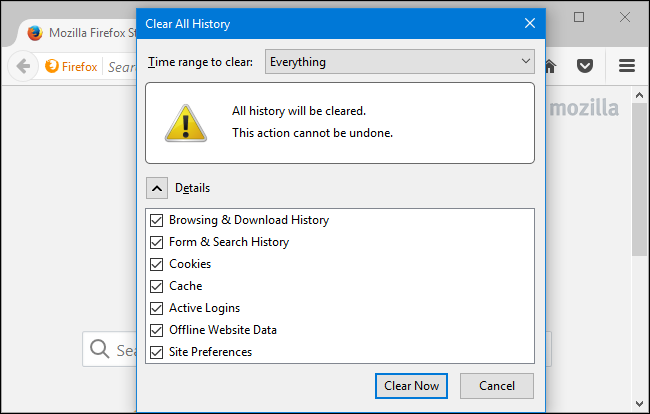 How to clear your history in any browser you can also choose to clear other types of private data from here including your cookies browser cache offline website data and website specific ccuart Choice Image