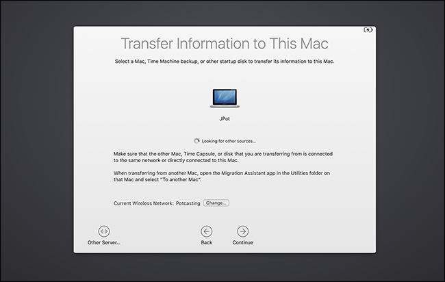 Using Migration Assistant to transfer files from one Mac to another