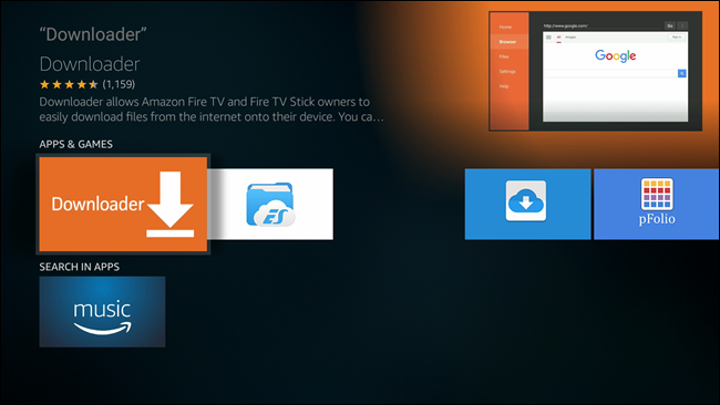 how to install downloader on amazon fire tv