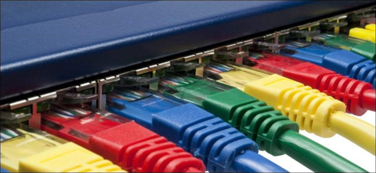 Colorful Ethernet cables plugged into a network router or switch.