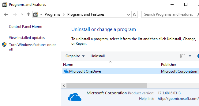 Microsoft OneDrive in the Programs and Features window.