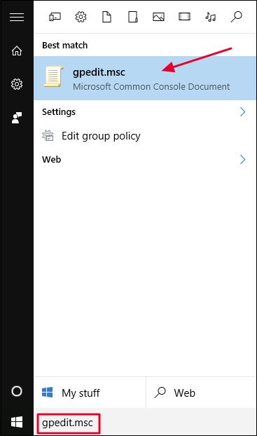 Launching gpedit.msc from the Start menu.