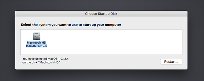 selecting startup disk on mac