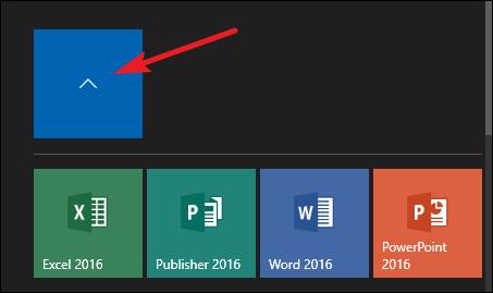 click arrow above tile group to close folder