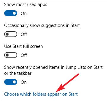 choosing which folders appear on start in the settings app
