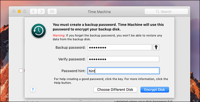 how to encrypt time machine backup
