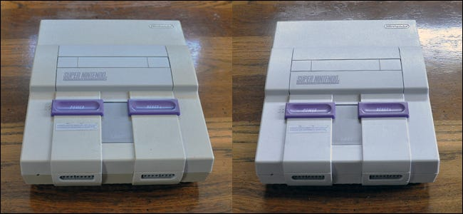 A yellowed Super Nintendo on the left, and the same bright white after being cleaned with Retr0bright on the right.