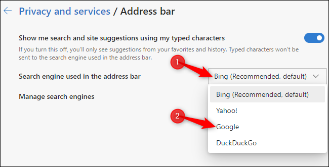 Choosing a default address bar search engine in the new Chromium-based Microsoft Edge browser.