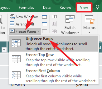How to freeze and unfreeze rows and columns in excel to reverse that you just have to unfreeze the panes on the view tab hit the freeze panes dropdown again and this time select unfreeze panes ccuart Gallery
