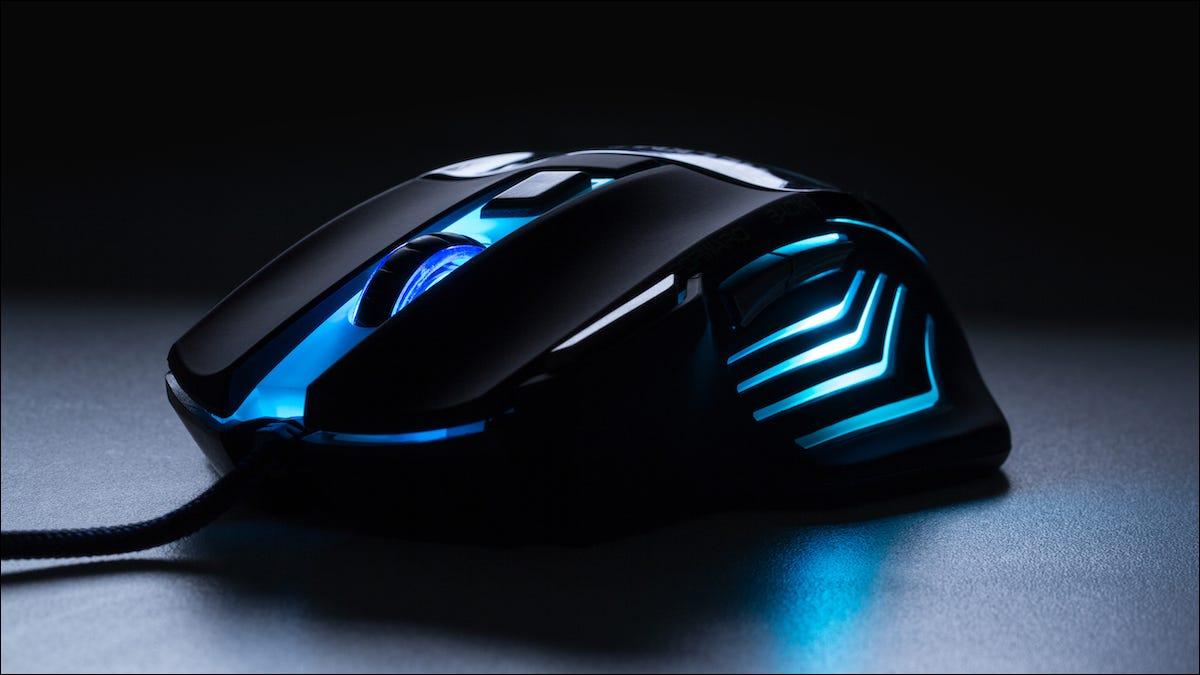 Gaming mouse with a blue glow
