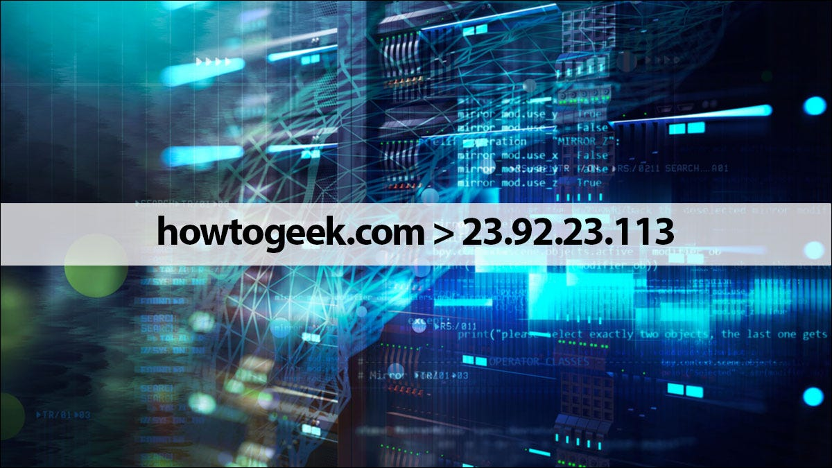 How-To Geek's URL and DNS with a technology theme background