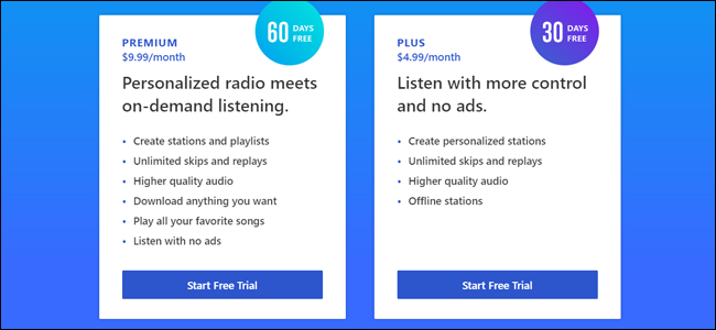 pandora no ads unlimited skips