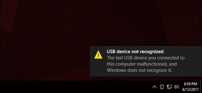 the last usb device malfunctioned windows 10