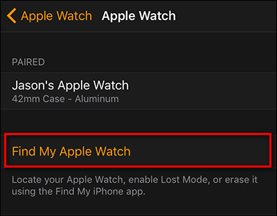 How to put find my iphone on apple watch