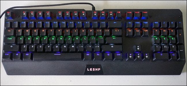 """5d9435567b6 The Best Cheap Keyboard With """"Red"""" Switches: LESHP Backlit Keyboard. """""""