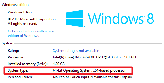 windows 32 or 64 bit which do i have