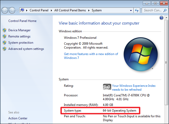 How do i know if i m running 32 bit or 64 bit windows for Window 64 or 32
