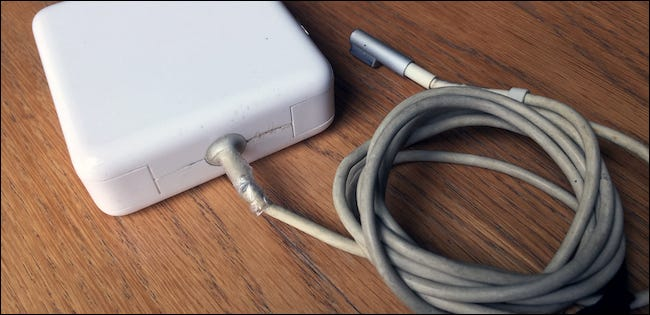 Old and broken Apple Mac charger