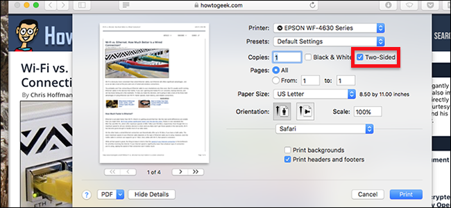 How to Stop Two-Side Printing From Being the Default in macOS
