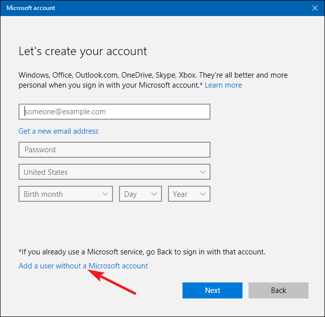 change microsoft account to local account command line