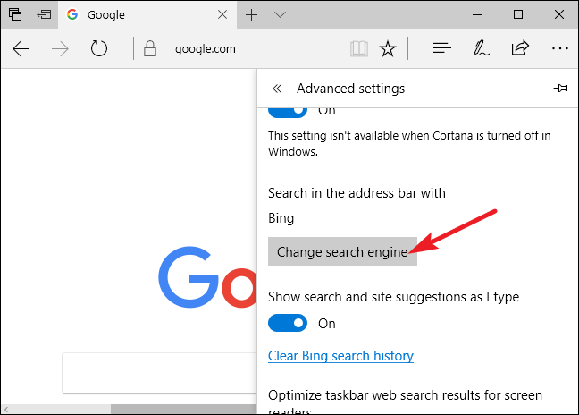 "Scroll down in the ""Advanced settings"" panel and you'll see the ""Search in the address bar with"" setting. Click the ""Change search engine"" button."