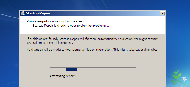 windows 7 boot screen repair