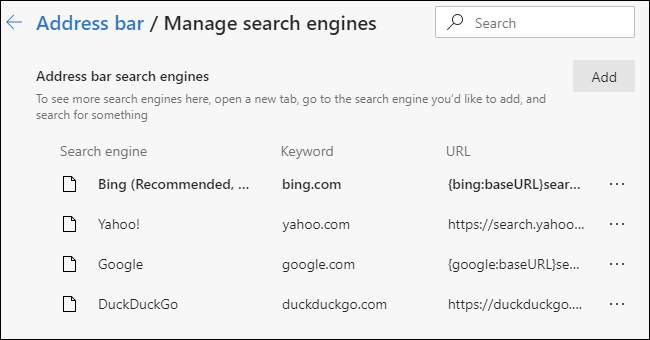 Managing the list of available search engines in the Chromium-based Edge browser.