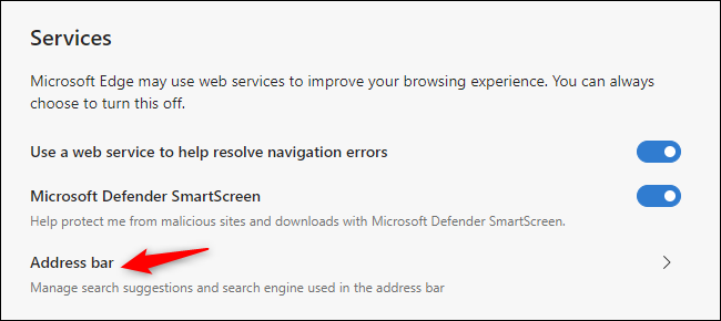 Finding the default search engine choice in Microsoft Edge