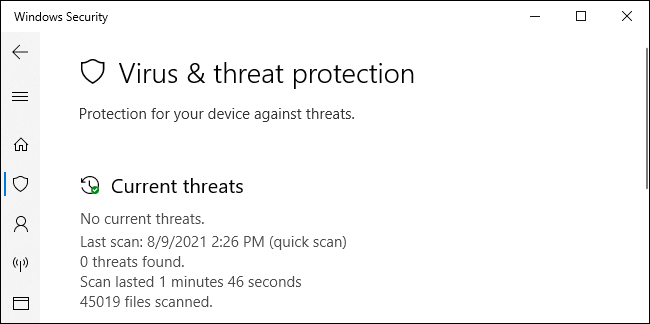 The Windows Security application showing Microsoft Defender's status.