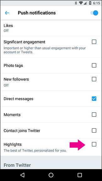 how to delete twitter notifications