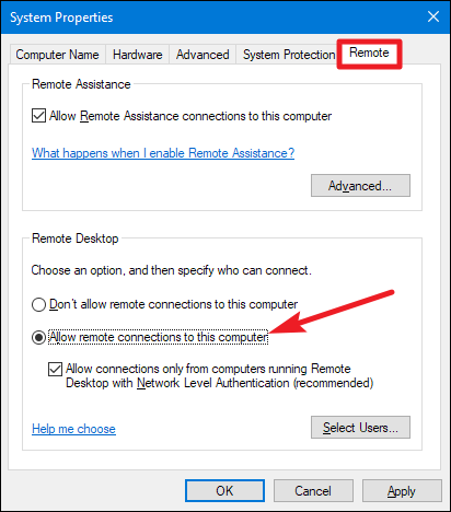 Turn on Remote Desktop in Windows 7, 8, 10, or Vista