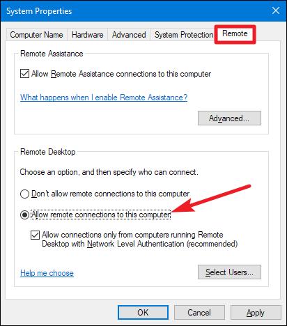 remote desktop xp to win 10