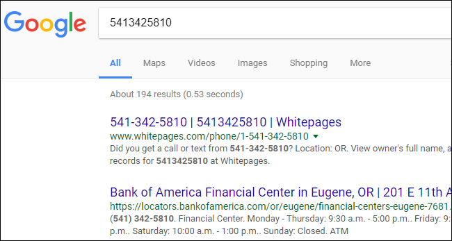 look up a phone number google