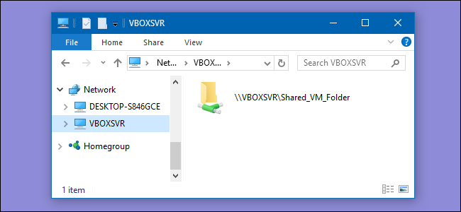 virtualbox windows 10 mount shared folder